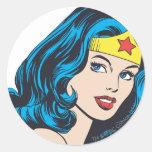 Cara de la Mujer Maravilla Etiqueta Redonda