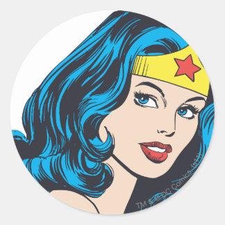 Cara de la Mujer Maravilla Pegatina Redonda