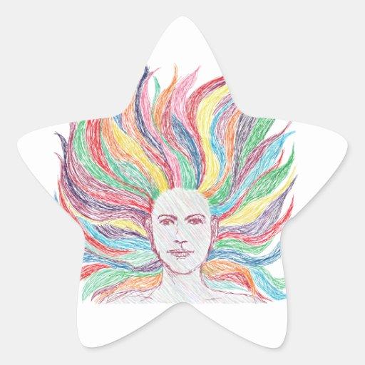 cara de la mujer pegatina en forma de estrella