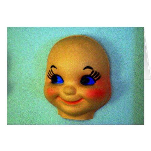 Cara de la muñeca del vintage tarjeta de felicitación