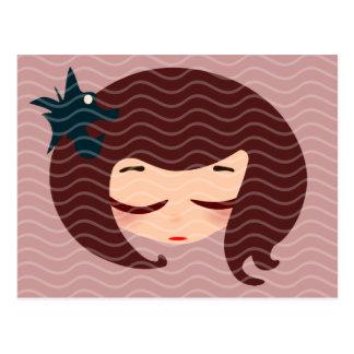 cara de la niña tarjetas postales