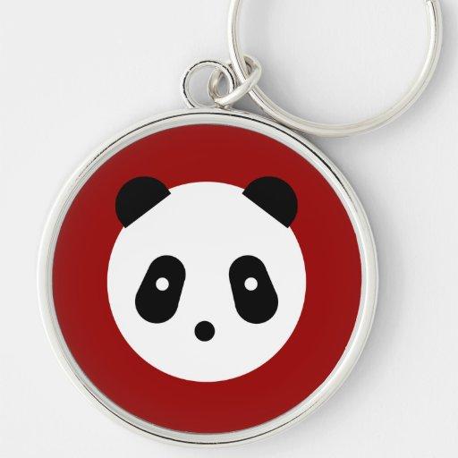 Cara de la panda llavero redondo plateado