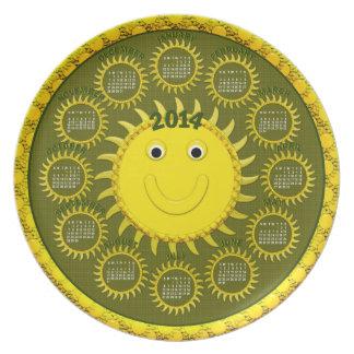 Cara de la Placa-Sol de 2014 calendarios Plato Para Fiesta