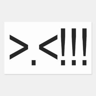 Cara de la rabia del ASCII Rectangular Pegatina