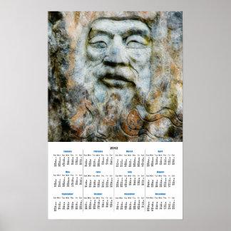 Cara de la roca - hombre tallado en piedra posters