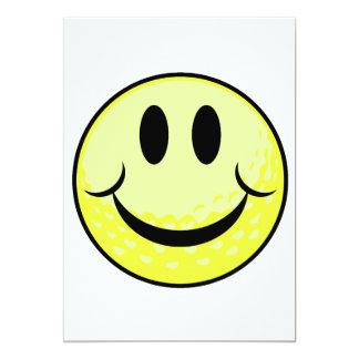 """cara de la sonrisa de la pelota de golf invitación 5"""" x 7"""""""