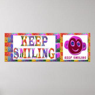 Cara de la sonrisa:  GUARDE el sonreír Póster
