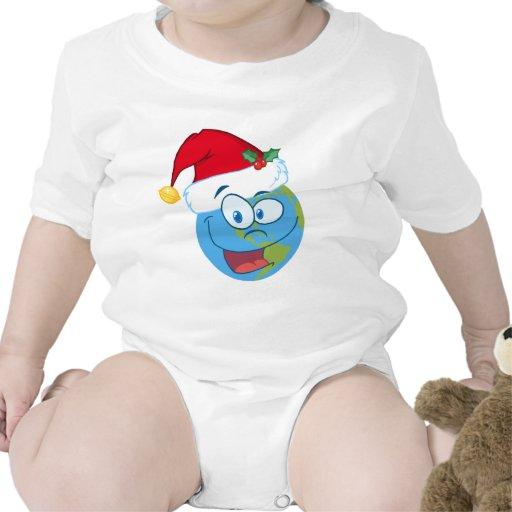 Cara de la tierra que lleva el gorra de Santa Trajes De Bebé
