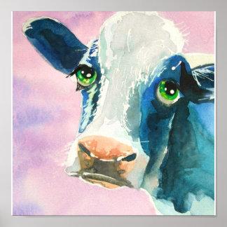 Cara de la vaca con la pintura de la acuarela de l impresiones