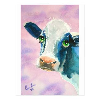 Cara de la vaca con la pintura de la acuarela de tarjetas postales