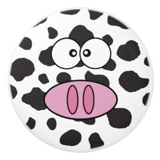 Cara de la vaca, nariz de la vaca, puntos de la pomo de cerámica