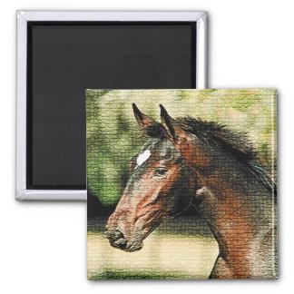 Cara de las tejas de mosaico del caballo imán cuadrado