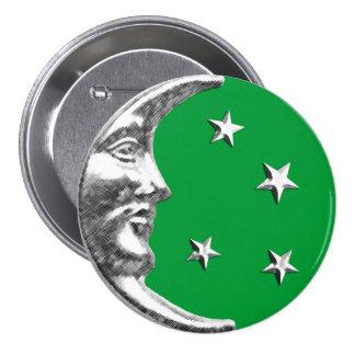 Cara de luna del art déco - verde y plata de jade pins