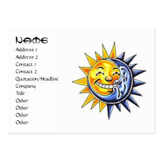 Cara de luna feliz del sol del dibujo animado del tarjetas de visita