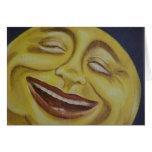 Cara de luna grande tarjetas