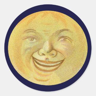 Cara de luna sonriente feliz pegatina redonda