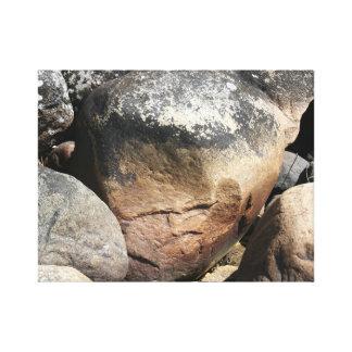 Cara de piedra impresiones en lona estiradas
