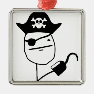 Cara de póker del pirata - meme adorno cuadrado plateado