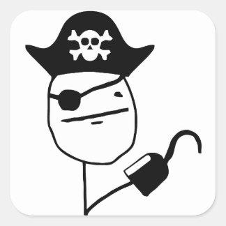 Cara de póker del pirata - meme calcomanía cuadradas personalizadas