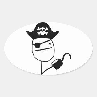 Cara de póker del pirata - meme colcomanias ovaladas personalizadas
