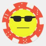cara de póker etiquetas redondas