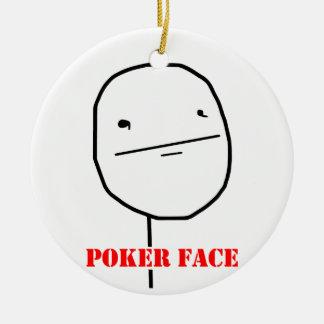 Cara de póker - meme adorno redondo de cerámica