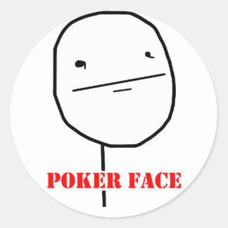 Cara de póker - meme etiquetas redondas