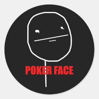 Cara de póker Meme Etiqueta Redonda