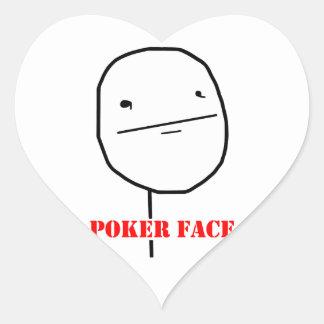 Cara de póker - meme pegatina en forma de corazón