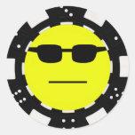 cara de póker pegatina redonda