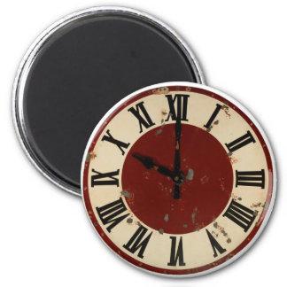 Cara de reloj antigua del vintage apenada imán para frigorífico
