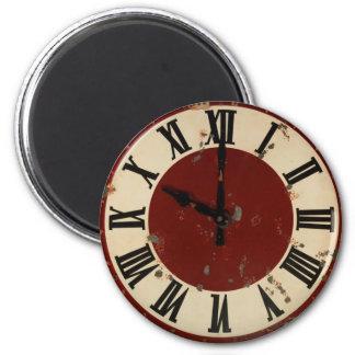 Cara de reloj antigua del vintage apenada imán redondo 5 cm