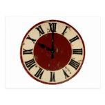Cara de reloj antigua del vintage apenada postales