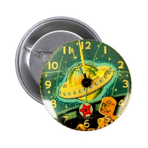 Cara de reloj del juguete del vehículo espacial de pin redondo de 2 pulgadas
