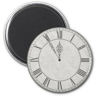 Cara de reloj del número romano B&W Imán Redondo 5 Cm