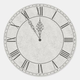 Cara de reloj del número romano B&W Pegatina Redonda