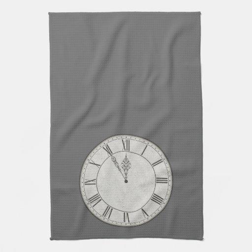 Cara de reloj del número romano B&W Toalla De Mano