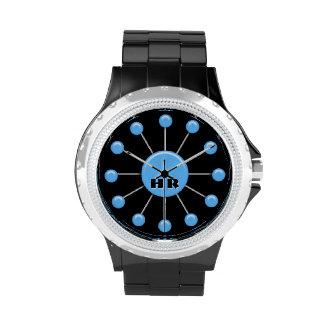 Cara de reloj moderna retra de la bola - azul (con