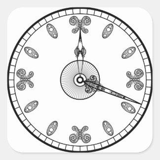 Cara de reloj pegatina cuadrada