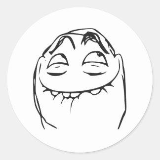 Cara de risa Meme cómico de la rabia de PFFTCH Pegatina Redonda