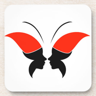 Cara de una señora y de una mariposa posavasos de bebidas