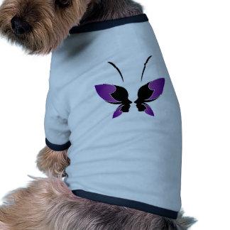 Cara de una señora y de una mariposa camiseta de mascota