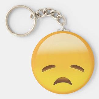 Cara decepcionada Emoji Llavero Redondo Tipo Pin