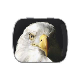 Cara del águila calva frascos de caramelos