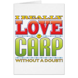Cara del amor de la carpa tarjeta de felicitación