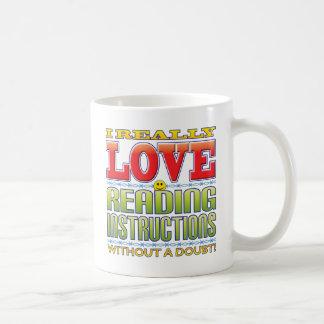 Cara del amor de las instrucciones de la lectura taza básica blanca