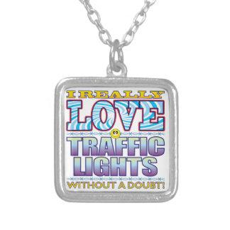 Cara del amor de los semáforos colgante cuadrado