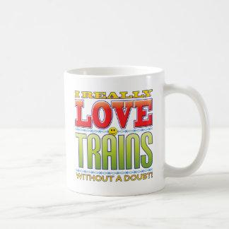 Cara del amor de los trenes taza básica blanca