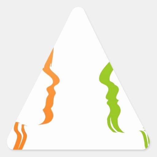 Cara del amor del beso pegatinas triangulo personalizadas