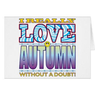 Cara del amor del otoño tarjeta de felicitación